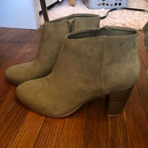 Sueded Block-Heel Booties